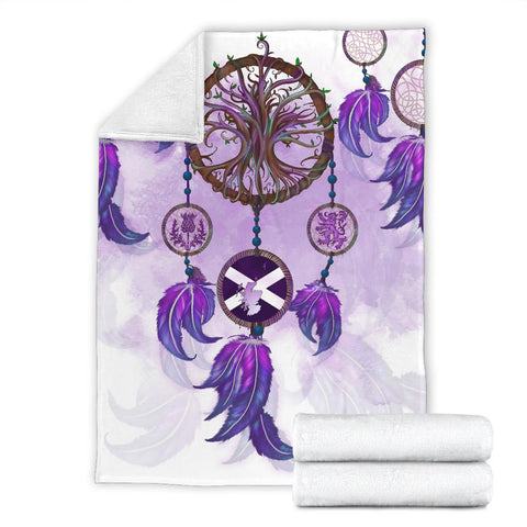 Image of Scotland Premium Blanket - Dream Catcher Celtic Tree Of Life White | Love The World