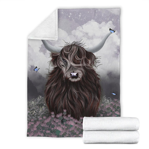 Scotland Premium Blanket - Highland Cow Thistle A24