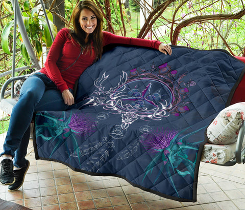 Image of Scottish Thistle Premium Quilt - Scottish Red Deer Celtic Dream Catchr Thistle  A18