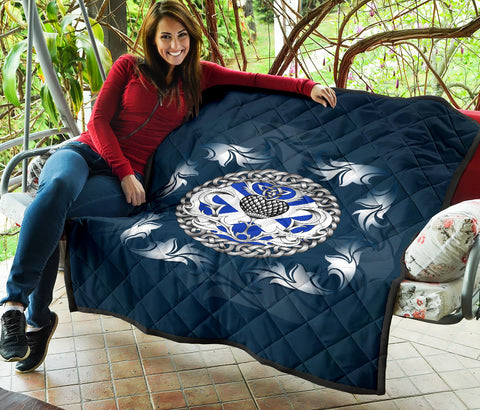 Image of Scotland Premium Quilt - Scottish Flag and Celtic Thistle - Blue A18