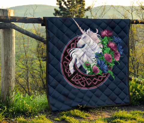 Image of Scotland Premium Quilt - Unicorn Thistle And Moon Celtic A18