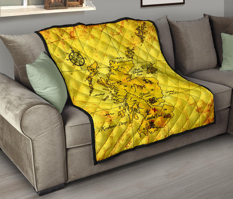 Scotland Treasure Map Premium Quilt | Blanket | Home Decor