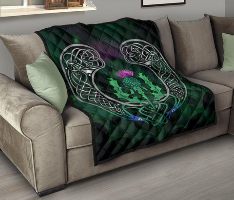 Scotland Premium Quilt - Celtic Thistle Green | Home Set