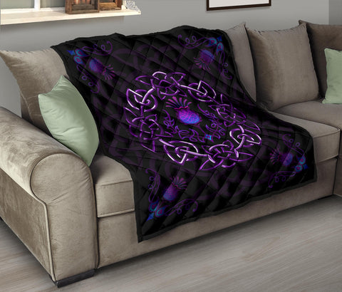 Image of Scotland Premium Quilt - Purple Thistle Celtic | Love Scotland