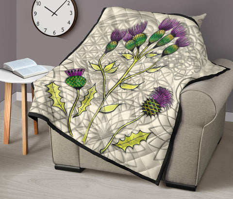 Scotland Premium Quilt - Scottish Thistle Pattern