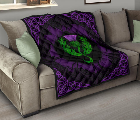 Scotland Premium Quilt - Celtic Thistle Purple A24