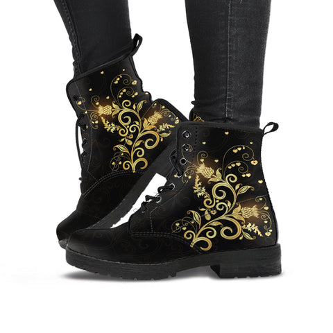 Scottish Luxury Golden Thistle Black Edition - Leather Boots