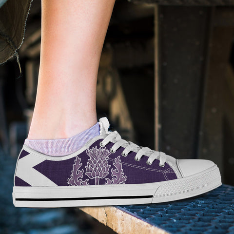 Purple Thistle - Scotland Low Top Canvas Shoes | Special Custom Design