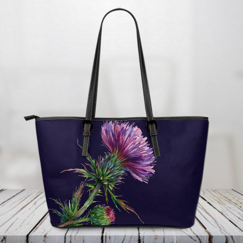 1stScotland Custom Leather Tote Bag - Scottish Thistle Purple Women A10