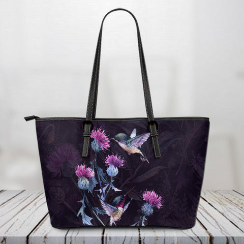 Scotland Leather Tote Bag, Scotland Thistle Purple Bird A10