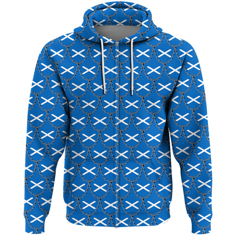 Scotland Flag And Chains Pattern Zip Hoodie