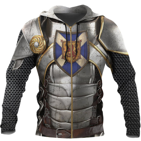 Scotland Hoodie, Scottish Knight With Scottish Shield (Zip) A7