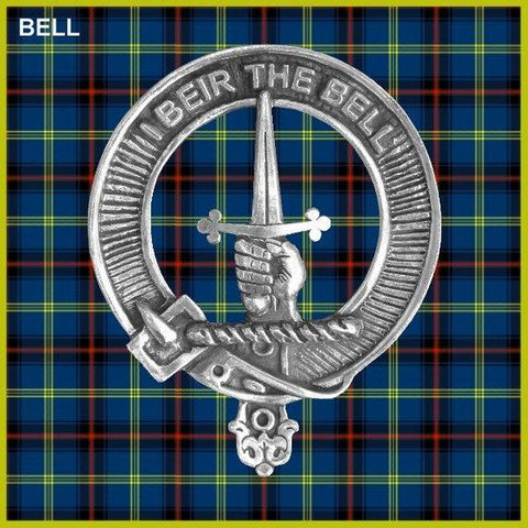 Bell Tartan Clan Crest Scottish Badge Flask