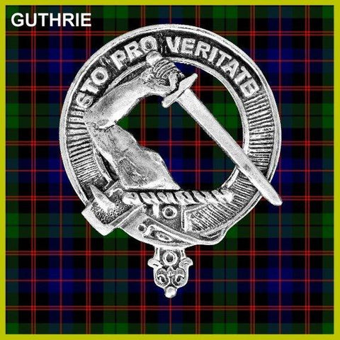 Guthrie Tartan Clan Crest Scottish Badge Flask