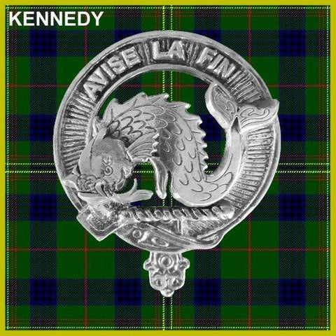 Kennedy Tartan Clan Crest Scottish Badge Flask