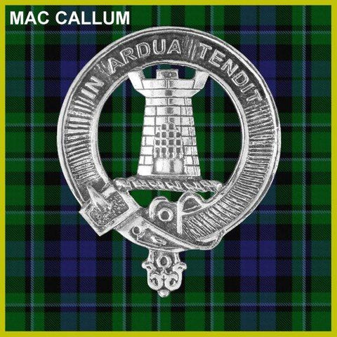 MacCallum Tartan Clan Crest Scottish Badge Flask