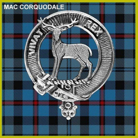 MacCorquodale Tartan Clan Crest Scottish Badge Flask