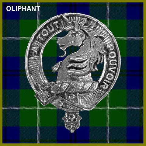 Oliphant Tartan Clan Crest Scottish Badge Flask