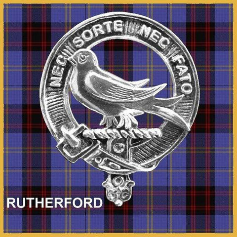 Rutherford Tartan Clan Crest Scottish Badge Flask