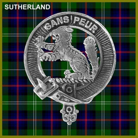 Sutherland Tartan Clan Crest Scottish Badge Flask