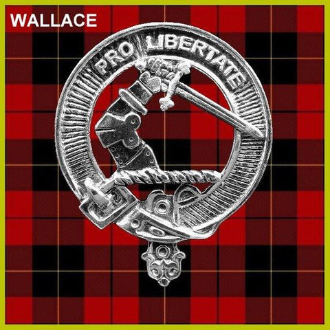Wallace Tartan Clan Crest Scottish Badge Flask