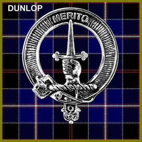 Dunlop Tartan Clan Crest Scottish Badge Flask