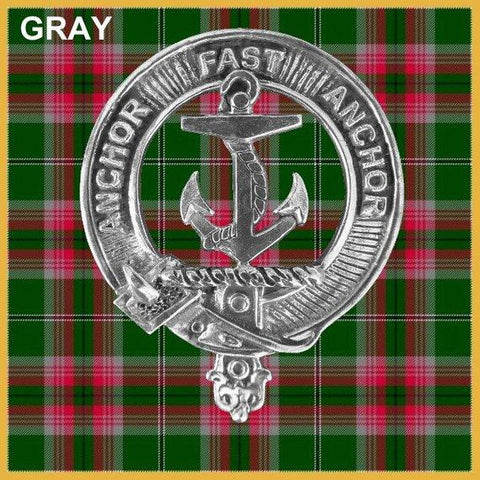 Gray Tartan Clan Crest Scottish Badge Flask
