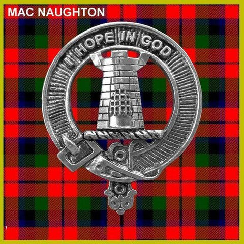 MacNaughton Tartan Clan Crest Scottish Badge Flask