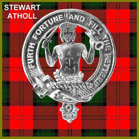 Stewart (Athol) Tartan Clan Crest Scottish Badge Flask