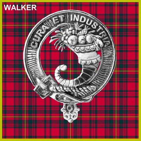 Walker Tartan Clan Crest Scottish Badge Flask