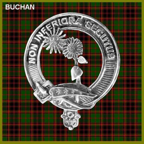 Image of Buchan Tartan Clan Crest Badge Leather Sporran