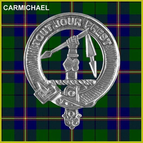 Image of Carmichael Tartan Clan Crest Badge Leather Sporran