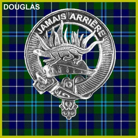 Douglas Tartan Clan Crest Badge Leather Sporran