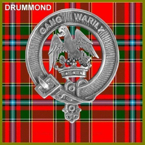 Image of Drummond Tartan Clan Crest Badge Leather Sporran