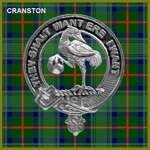 Image of Cranston Tartan Clan Crest Badge Leather Sporran
