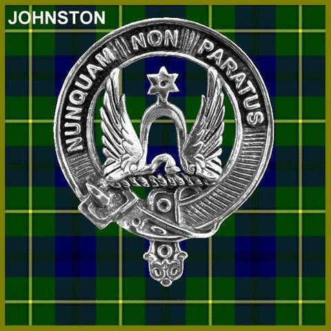 Johnston Tartan Clan Crest Scottish Cap Badge