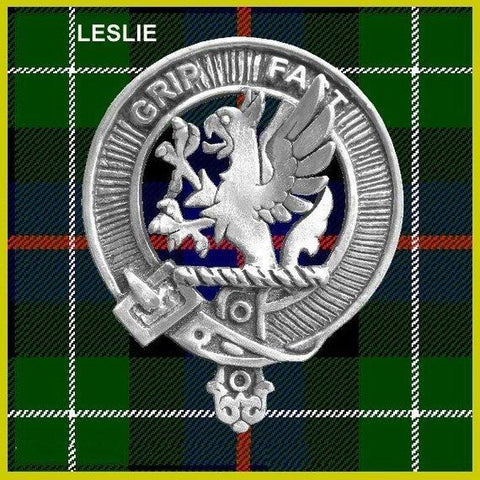 Leslie Tartan Clan Crest Interlace Kilt Belt Buckle