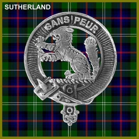 Sutherland  Tartan Clan Crest Scottish Cap Badge