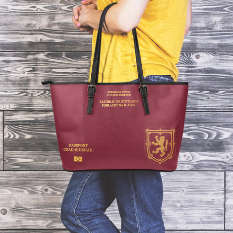 Scotland Lion Passport - Scotland Large Leather Tote Bag | HOT Sale