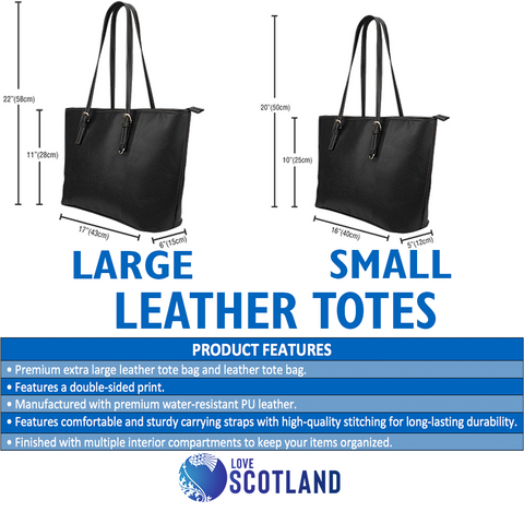 Scotland Large Leather Tote - Scottish Heart Thistle Celtic A24