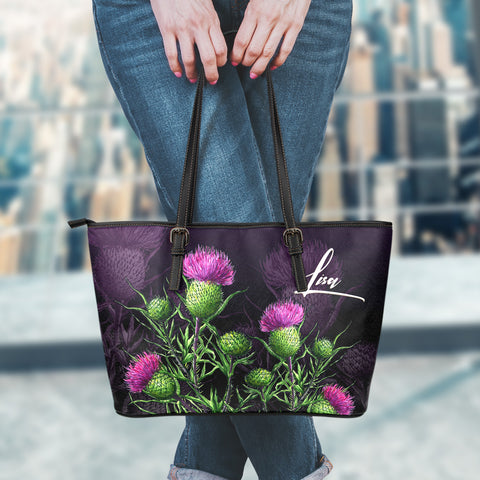 (Custom) 1stScotland Leather Tote - Thistle Flower | 1stScotland