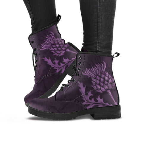 Scotland Leather Boots - Scottish Thistle Purple Edition