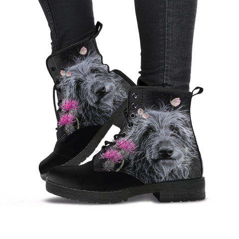 Scottish Leather Boots - Deer Hound & Thistle Flower