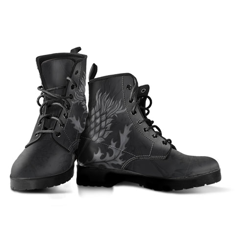 Scotland Leather Boots - Thistle Flower Dark Edition