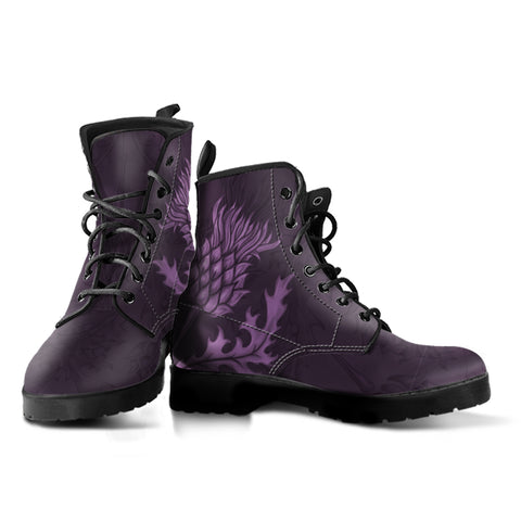 Scotland Boots, Scottish Thistle Purple Leather Boots