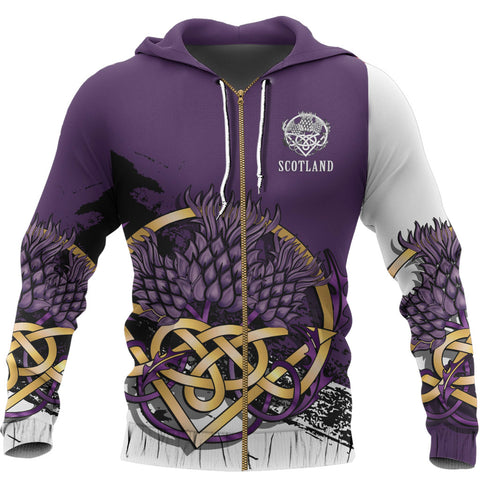 Scotland Zip Hoodie - Thistle Celtic Knot Purple | Love Scotland