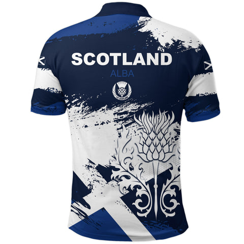 1stScotland Polo Shirt, Scottish Thistle Flag Brush | 1stscotland