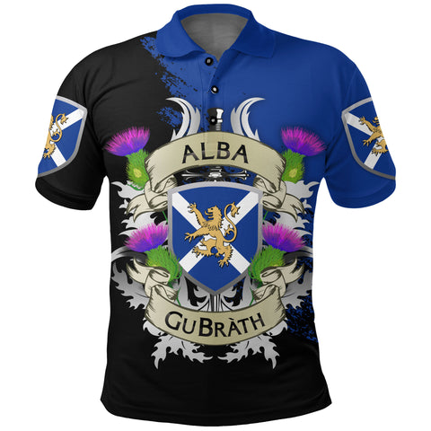 Scotland Polo Shirt - Scotland Forever Flag Lion Thistle (Alba GuBràth) | 1stscotland