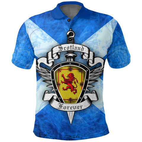 Scottish Flag Polo Shirt, Scotland Forever Royal Banner and Rampant Lion | 1stscotland