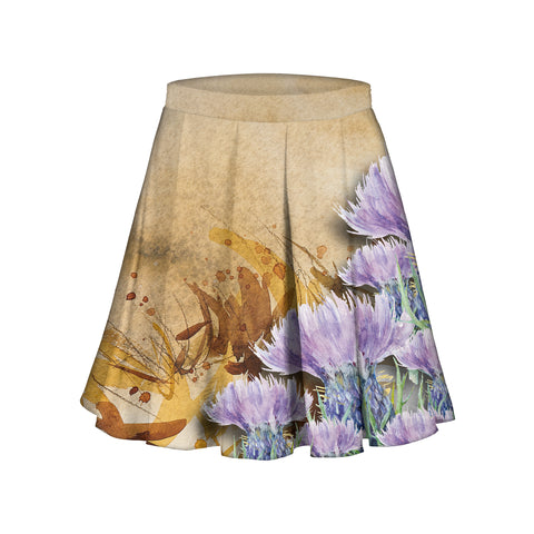 Scotland Midi Skirt Scottish Highland Thistle Watercolor A10